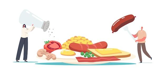 Kleine mannelijke en vrouwelijke personages op een enorm bord met engels ontbijtspek, worstjes met gebakken ei, bonen, tomaat of champignons, toast met gesmolten boter. cartoon mensen vectorillustratie