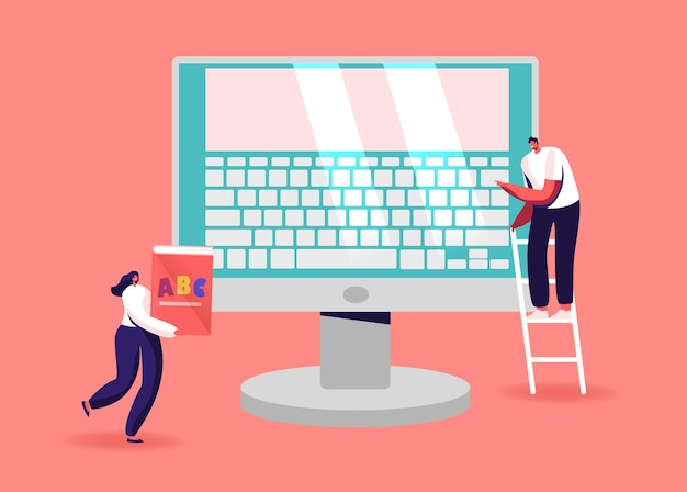 Kleine mannelijke en vrouwelijke personages op enorme computermonitor met toetsenbord op scherm.