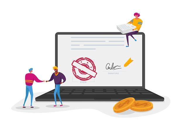 Kleine mannelijke en vrouwelijke personages rond enorme laptop met document