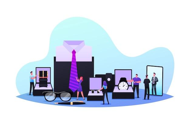 Kleine mannelijke personages die accessoiresconcept kopen. mannen kiezen stijlvolle studs, brillen, stropdas, ganzenveer en horloge in luxe winkel. mode, mannelijkheid, herenkleding. cartoon mensen vectorillustratie
