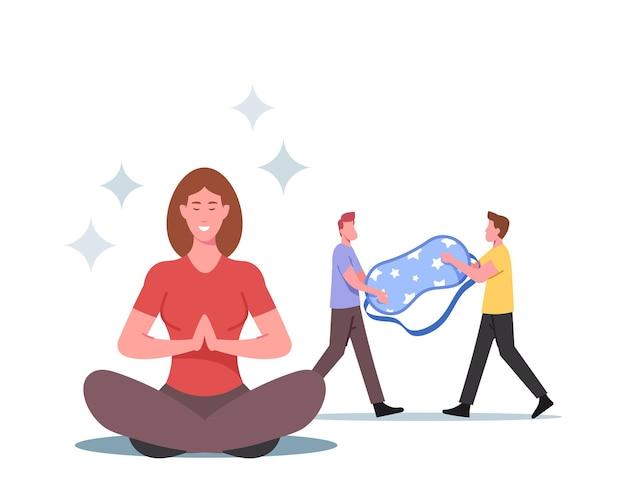 Kleine mannelijke personages dragen een enorm slaapmasker, een vrouw mediteert om gezond te slapen. regels voor welterusten, levensstijl tegen slapeloosheid en ontbering, gezondheidszorg. cartoon mensen vectorillustratie