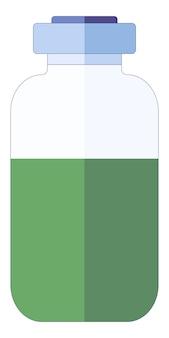 Kleine medische ampul met groene vloeistof voor injecties in ziekenhuiscentrum in een vlakke stijl