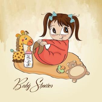 Kleine meisje te spelen met haar speelgoed baby shower-kaart