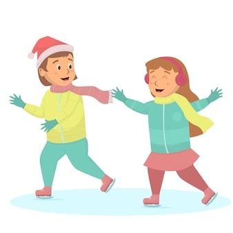 Kleine meisjes die pret hebben spelen schaatsen illustratie