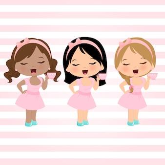 Kleine meisjes ingesteld