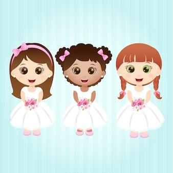 Kleine meisjes met witte jurken Premium Vector