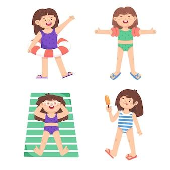 Kleine meisjes spelen op het strand, zonnebaden, eten een ijsje. activiteit op zee