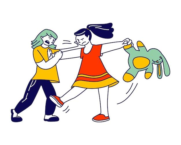 Kleine meisjes vechten en ruzie in speelkamer. cartoon vlakke afbeelding