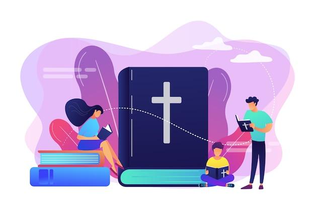 Kleine mensen, christenen die de bijbel lezen en over christus leren. heilige bijbel, heilig heilig boek, het woord van god concept.