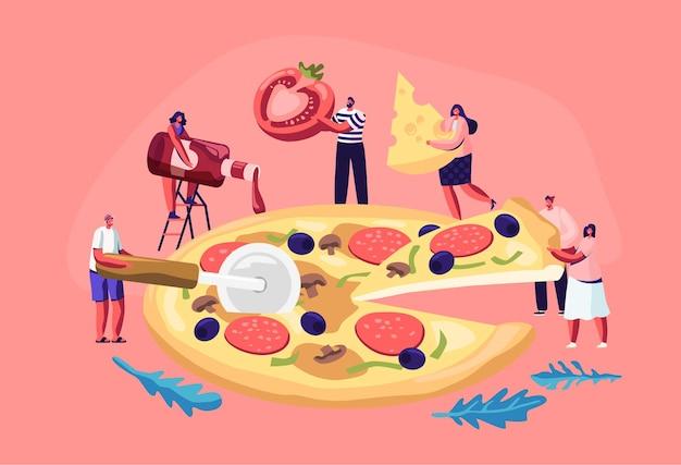 Kleine mensen die enorme pizza eten.