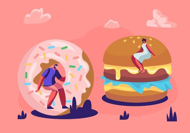 Kleine mensen die fastfood eten en genieten van openluchtfestival, straatfeest, stadsfeest, fastfoodfestival.