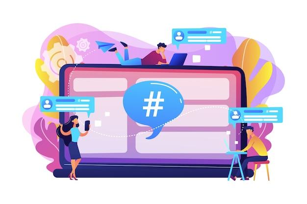 Kleine mensen die klanten ontvangen, ontvangen berichten van de microblogdienst. microblogplatform, microblogmarkt, microblogmarketing-serviceconcept.