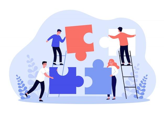 Kleine mensen die puzzelstukken met elkaar verbinden