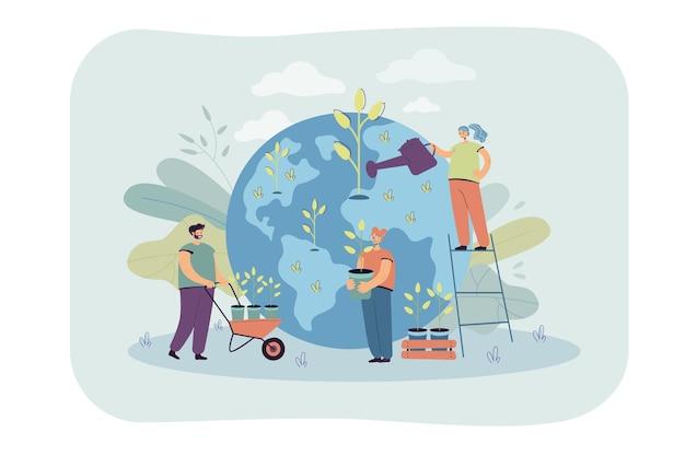 Kleine mensen die samen bomen planten en water geven