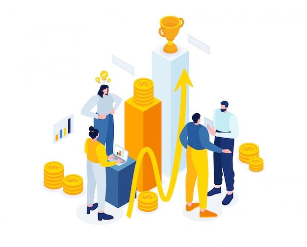 Kleine mensen financiële sector. teamwerk aan data-analyse,