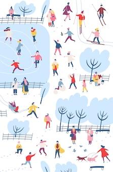 Kleine mensen gekleed in winterkleren of bovenkleding die buitenactiviteiten uitvoeren in het stadspark
