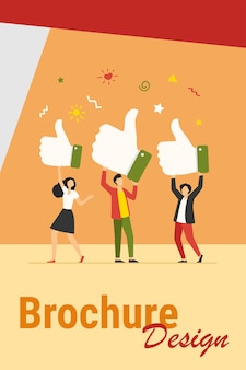 Kleine mensen houden duimen omhoog platte vectorillustratie. cartoonklanten of klanten die ondersteuning, beoordeling en feedback geven. zakelijk succes en servicekwaliteit concept