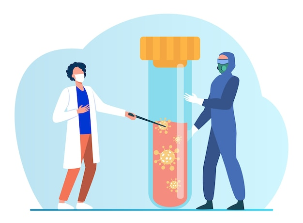 Kleine mensen in beschermend uniform houden een kolf met bloed vast. coronavirus, masker, analyse platte vectorillustratie. pandemie en medicijnen