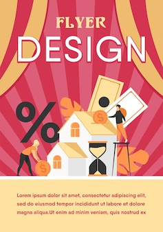 Kleine mensen kopen huis in schulden geïsoleerd plat