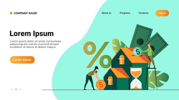 Kleine mensen kopen huis in schulden geïsoleerde platte vectorillustratie. abstracte jonge paar geld investeren in onroerend goed