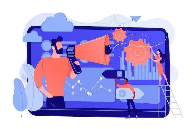 Kleine mensen, marketeer met megafoon, gegevensanalyse van consumenten. datagestuurde marketing, analyse van consumentengedrag, trendconcept voor digitale marketing