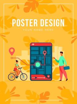 Kleine mensen met behulp van mobiele applicatie met kaart buitenshuis geïsoleerde vlakke afbeelding. cartoon telefoon met navigatie-tracking-app. reis en technologieconcept
