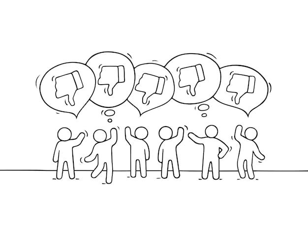 Kleine mensen met tekstballonnen en antipathieën.