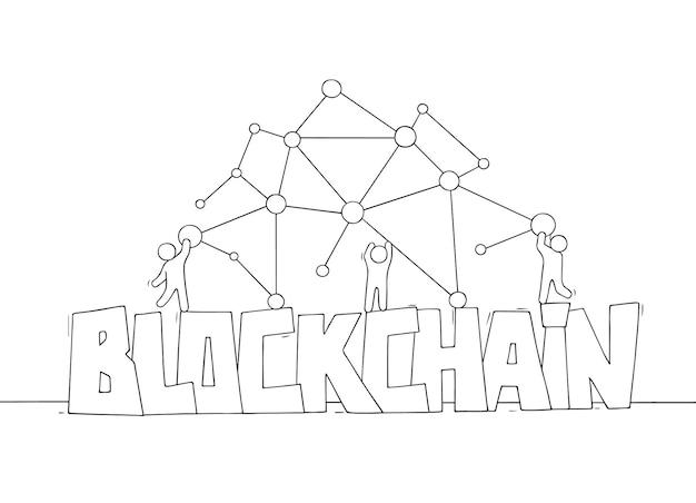 Kleine mensen met woord blockchain.