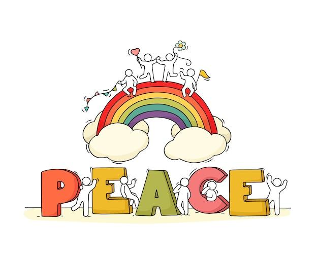 Kleine mensen met woord vrede en regenboog.