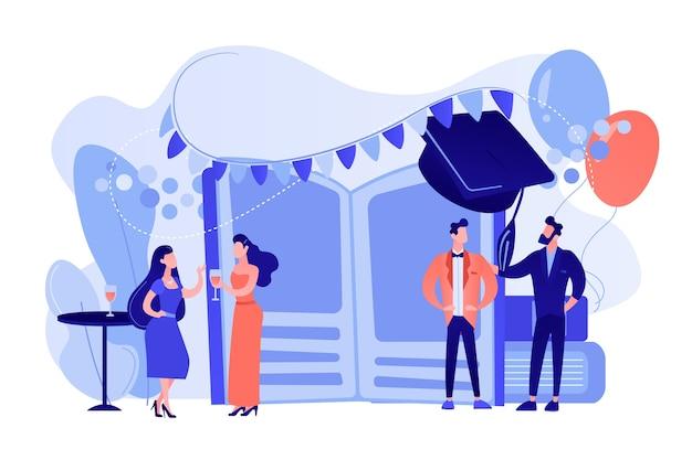 Kleine mensen middelbare scholieren in jurken en pakken chatten op promenade dans. prom party, prom night uitnodiging, promenade school dans concept. roze koraal bluevector geïsoleerde illustratie