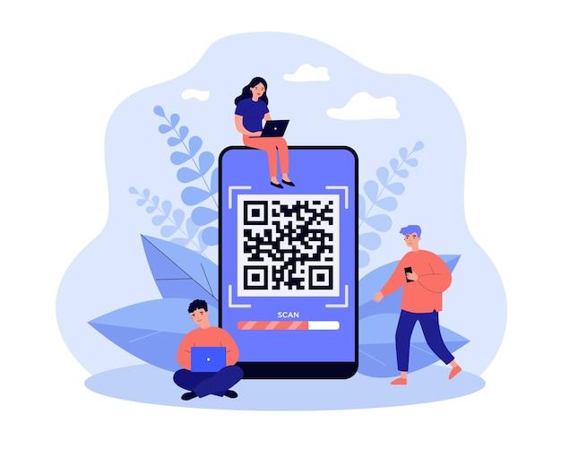 Kleine mensen scannen qr-code