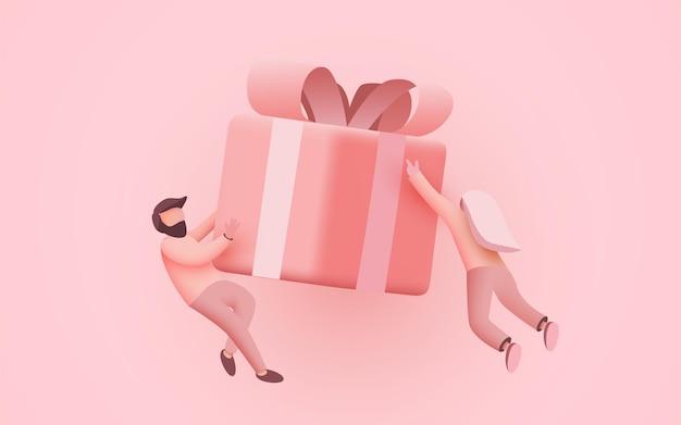 Kleine mensen vliegen rond de huidige banner van het concept van de bestemmingspagina van het doosgeschenk of foldersjabloon