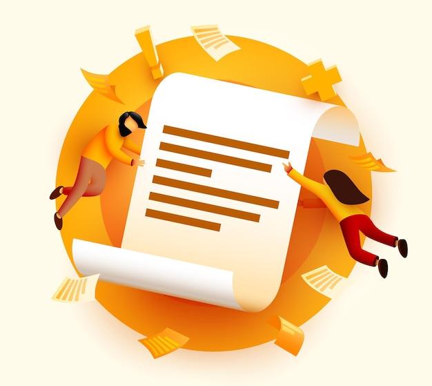 Kleine mensen vliegen rond papieren documentovereenkomst of contractvoorwaarden