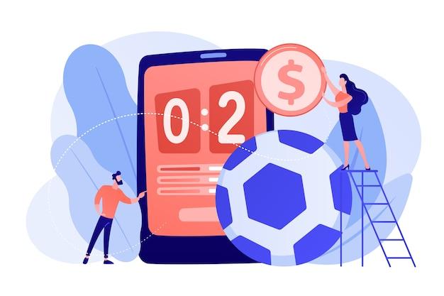 Kleine mensen, zakenman die op voetbal gokt en bookmaker op grote smartphone met score. sportweddenschappen, bookmakersmarkt, sportweddenschappen concept. roze koraal bluevector geïsoleerde illustratie