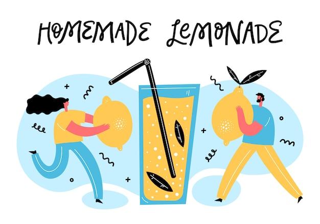 Kleine mensen zetten citroenen in enorm glas met limonade, muntblaadjes en stro. teamwork en zomerdrankje. cartoon vlakke afbeelding.