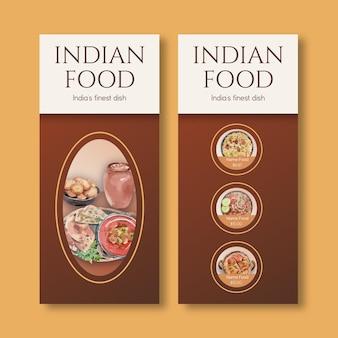 Kleine menusjablonen met indiaas eten