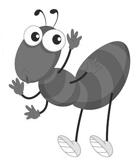 Kleine mier zwaait met zijn handen