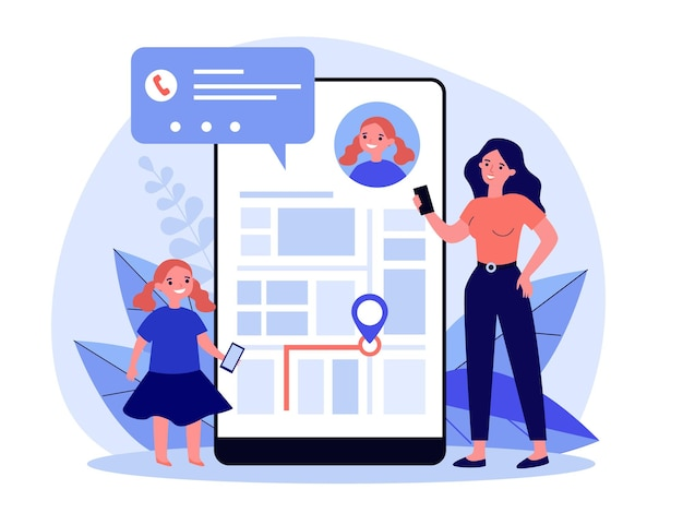 Kleine moeder zoekt waar haar dochter op mobiele app. mam, tracking, bel platte illustratie. digitale technologie en navigatieconcept