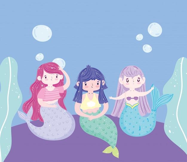 Kleine mooie zeemeerminnen tekens bubbels onderwater cartoon