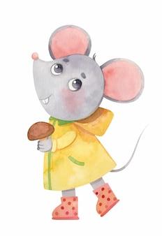 Kleine muis in een regenjas en rubberen laarzen met een paddestoel in zijn handen schattig aquarel dier