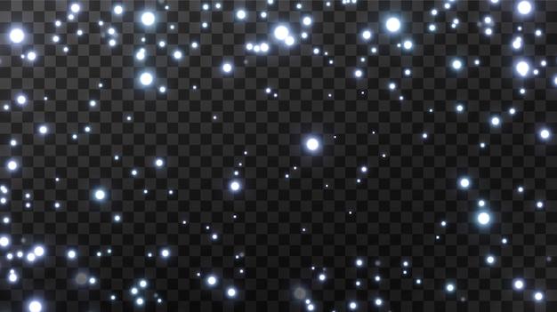 Kleine neon stofdeeltjes. explosie van sprankelend stof.