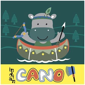 Kleine nijlpaard op de kano grappige dieren cartoon