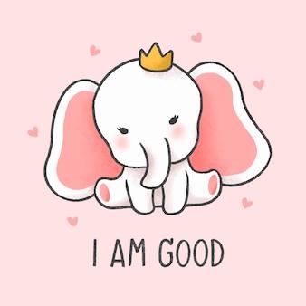 Kleine olifant cartoon hand getrokken stijl
