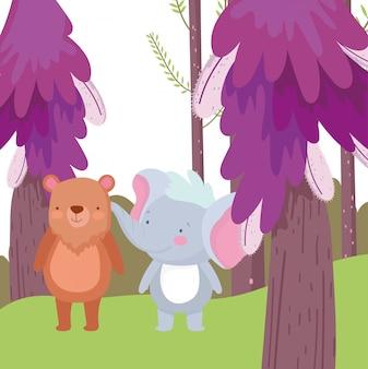Kleine olifant en beer cartoon karakter bos gebladerte natuur