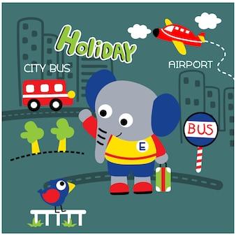 Kleine olifant in de stad grappige dieren cartoon, vector illustratie