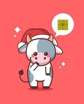 Kleine os in kerstmuts met geschenkdoos in praatjebel toespraak gelukkig chinees nieuw jaar 2021 wenskaart schattige koe mascotte stripfiguur volledige lengte vectorillustratie