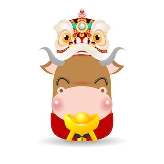 Kleine os met lion dance head met chinese goudstaaf