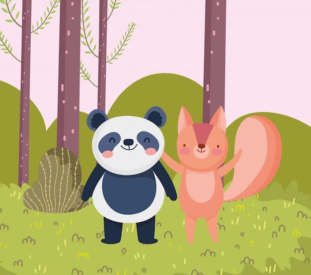 Kleine panda en eekhoorn cartoon karakter bos gebladerte natuur