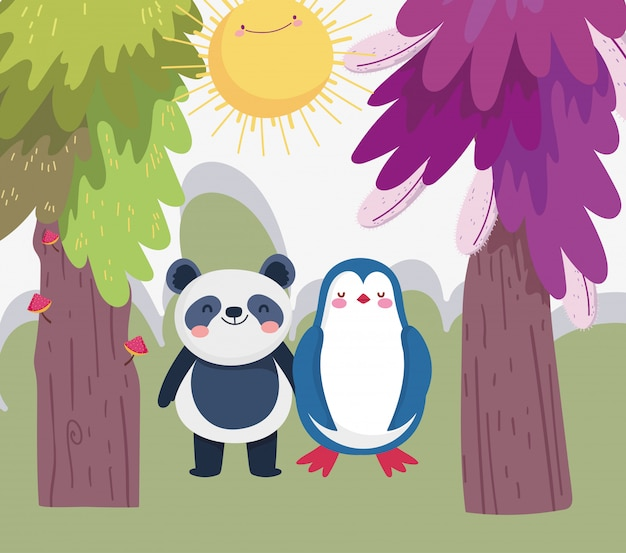 Kleine panda en pinguïn cartoon karakter bos gebladerte natuur