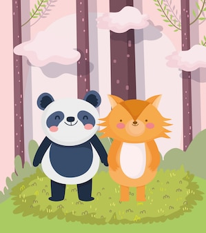 Kleine panda en vos cartoon karakter bos gebladerte natuur